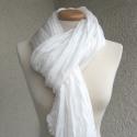 fehér selyemsál STÓLA méretben, Ruha, divat, cipő, Női ruha, Selyemfestés, Nagyobb méret - nagyobb hatás; fehér selyemzuhatag. (A selyem természetes, kissé gyöngyházfényű  tör..., Meska