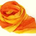 """""""lángok""""  sárga-narancs selyemsál , Ruha, divat, cipő, Női ruha, Selyemfestés, Üde sárgák, vidám narancsok - színvitamin a javából.. Tisztaselyem, kb. 40x150 cm.  Nagyon mutatós,..., Meska"""