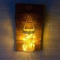 Rusztikus fali dekoráció vintage stílusú lámpással, Dekoráció, Otthon, lakberendezés, Dísz, Gyertya, mécses, gyertyatartó, Famegmunkálás, Festett tárgyak, Ezt a rusztikus fali dekorációt fenyőfából készítem, és színezem a fa felületét. Méretei kb. 4 x 20..., Meska