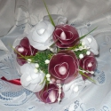 Rózsa csokor, Esküvő, Dekoráció, Otthon, lakberendezés, Esküvői csokor, Virágkötés,  Egyedi kézzel készült harisnyavirág csokor. Minden alkalomra. Nem hervad el! A csokor átmérője 22 ..., Meska