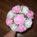 Rózsa csokor, Esküvő, Mindenmás, Esküvői csokor, Virágkötés, Egyedi kézzel készült harisnyavirág csokor. Minden alkalomra. Nem hervad el! A csokor átmérője 22 c..., Meska