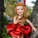 Carmelita tündér figura mozgatható porcelánbaba kabala porcelán figura - tüzes virágtündér rózsa tündér, Dekoráció, Otthon, lakberendezés, Képzőművészet, Szobor, Baba-és bábkészítés, Kerámia, Carmelita - tüzes virágtündér  Madarak hívó dalára táncol, s vibráló szoknyája lángol, Minden kobol..., Meska