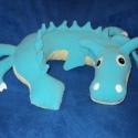 Kék sárkány nyakpárna, Baba-mama-gyerek, Játék, Otthon, lakberendezés, Baba-mama kellék, Varrás, Pihe-puha mikropolárból és wellsoftból készítettem szilikongolyó töméssel ezt a nyakpárnát , mely k..., Meska