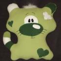 Cicapárna zöld, Baba-mama-gyerek, Játék, Baba-mama kellék, Játékfigura, Párna, Varrás, Puha mikropolárból szilikongolyó töméssel készült aranyos cicust formáló párna , méretei 40x37x32 c..., Meska