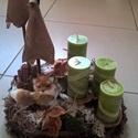 rókás adventi koszorú , Dekoráció, Karácsonyi, adventi apróságok, Ünnepi dekoráció, Karácsonyi dekoráció, Virágkötés, A koszorú átmérője kb 30  cm,mely ágakból és gyökerekből áll.Zöld gyertyákkal díszítettem es egy ki..., Meska