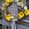sweet home, Dekoráció, Otthon, lakberendezés, Dísz, Ünnepi dekoráció, Virágkötés, 25 cm-es cirok alapot vontam be fűzfa ágakkal,díszítettem selyem es szárazvirággal.Közepét rusztiku..., Meska
