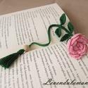 Horgolt rózsás könyvjelző , Mindenmás, Horgolás, Ez a horgolt rózsás könyvjelző kiváló ajándék miden könyvmoly számára. Anyaga pamut horgoló cérna. ..., Meska