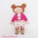 """""""Rose"""" pink kabátkás baba , Játék, Baba, babaház, Plüssállat, rongyjáték, Varrás, Hímzés, Rose egy 20 cm magas kedves, ölelni való kislány baba. Teste pamut jersey anyagból készült, ruhácsk..., Meska"""