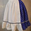 Kékfestő mintás FODROS szoknya + kötény kombináció, Ruha, divat, cipő, Női ruha, Szoknya, , Meska