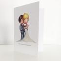 Esküvői képeslap, Képeslap, album, füzet, Képeslap, levélpapír, Fotó, grafika, rajz, illusztráció, Eljegyzésre, eskövőre...  Hagyományos, kinyitható képeslap, kb 10,5x15cm-es, melyet elől az egyik i..., Meska