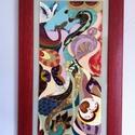 Dzsungel - üvegfestett kép, Dekoráció, Képzőművészet , Otthon, lakberendezés, Festmény, Festészet, Üvegművészet, Kereteztetve 28cm x 49cm a kép mérete. Üvegfestékkel készült. , Meska
