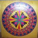 Pávatoll Mandala, Képzőművészet, Otthon, lakberendezés, Festmény, Falikép, Festészet, Nappali dísze lehet ez a nagyméretű ( 76 x 76 cm) akril festékkel fára festett és lakkozott mandala..., Meska