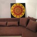 Inka Mandala, Képzőművészet, Otthon, lakberendezés, Festmény, Falikép, Festészet, Nappali dísze lehet ez a nagyméretű ( 76 x 76 cm) akril festékkel fára festett és lakkozott mandala..., Meska