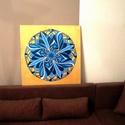 Kékvirág Mandala, Képzőművészet, Otthon, lakberendezés, Festmény, Falikép, Festészet, Nappali dísze lehet ez a nagyméretű ( 76 x 76 cm) akril festékkel fára festett és lakkozott mandala..., Meska