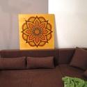 Virágbeporzás Mandala, Képzőművészet, Otthon, lakberendezés, Festmény, Falikép, Festészet, Nappali dísze lehet ez a nagyméretű ( 76 x 76 cm) akril festékkel fára festett és lakkozott mandala..., Meska