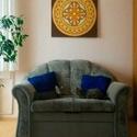 Védelem Mandala, Képzőművészet, Otthon, lakberendezés, Festmény, Falikép, Festészet, Nappali dísze lehet ez a nagyméretű ( 76 x 76 cm) akril festékkel fára festett és lakkozott mandala..., Meska