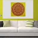 Vidám Mandala, Képzőművészet, Otthon, lakberendezés, Festmény, Falikép, Festészet, Nappali dísze lehet ez a nagyméretű ( 76 x 76 cm) akril festékkel fára festett és lakkozott mandala..., Meska