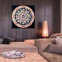 Szivárványvirág Mandala, Képzőművészet, Otthon, lakberendezés, Festmény, Falikép, Festészet, Nappali dísze lehet ez a nagyméretű ( 76 x 76 cm) akril festékkel fára festett és lakkozott mandala..., Meska