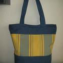 Laura farmer + vászon   táska  , Táska, Ruha, divat, cipő, Válltáska, oldaltáska, Női ruha, Varrás, Erős strapabíró táska a mindennapokra. Újrahasznosított farmer anyagból, új  vászonból varrtam.   B..., Meska