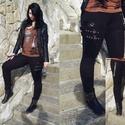 Rocker női legging, Ruha, divat, cipő, Női ruha, Nadrág, Varrás, Fekete sztreccses anyag felhasználásával és textilipari műbőrből készítettem ezt a nadrágot, ill. l..., Meska