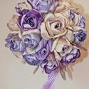 """""""Lila álom"""" pezsgő-lila menyasszonyi csokor, virág csokor, Esküvő, Esküvői csokor, Varrás, Virágkötés, Menyasszonyi csokor, lila és púder színekben. Minden egyes szirmot egyesével formáztam, ezáltal nin..., Meska"""