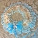 """""""Valami kék"""" menyasszonyi combgyűrű, boldogság pántlika, legényfogó, Esküvő, Hajdísz, ruhadísz, Varrás, Gyönyörű halvány türkizkék és pezsgő színű, finom puha csipkékből készült, nagyon rugalmas gumis or..., Meska"""