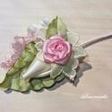 """""""Róza"""" vőlegény tanú kitűző, gomblyukdísz, Esküvő, Hajdísz, ruhadísz, Virágkötés, Aprólékos kézimunkával készült rózsából, kézzel készített szatén levelekből és csipkéből kivágott m..., Meska"""