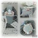 Angyalkás dísz, Dekoráció, Otthon, lakberendezés, Ünnepi dekoráció, Varrás, Virágkötés, Szürke bögrében csücsül az angyalka, mely köré textil rózsákat készítettem, és csodás púder színű b..., Meska