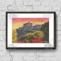 Őszi Dekoráció, Naplemente festmény, Skót Város, Edinburgh, Hangulatos ódon, vár, Dekoráció, Képzőművészet , Kép, Festmény, Festészet, Fotó, grafika, rajz, illusztráció, *A POSTA KÖLTSÉGET A MIKULÁS ÁLLJA!  A/5-ös méretű nyomtatott kép, Print lap.   A nyomat saját akri..., Meska