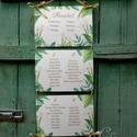 Nyári Esküvő, Ültetési rend, Esküvői Ültetésrend, Trópusi, levelek, Esküvő ültető kártya, Zöld, Party, Esküvő, Naptár, képeslap, album, Meghívó, ültetőkártya, köszönőajándék, Esküvői dekoráció, Fotó, grafika, rajz, illusztráció, Papírművészet, Nyári Esküvői Trópusi leveles Ültetési rend akár 12 asztalig is.  Gyönyörű Igényes Esküvői Ültetési..., Meska