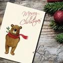 Karácsonyi Képeslap, Adventi Képeslap, Karácsony, Karácsonyi üdvözlőlap, Ünnepi képeslap, macii, macis, cuki, Dekoráció, Karácsonyi, adventi apróságok, Ünnepi dekoráció, Ajándékkísérő, képeslap, Fotó, grafika, rajz, illusztráció, Mindenmás, A/6-os méretű Igényes kinyitható Egyedi Karácsonyi képeslap, borítékkal.  Kinyitható, belül üres sa..., Meska