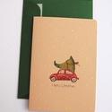 Vintage Karácsonyi Képeslap, fenyőfa, Adventi Képeslap, Vintage Karácsony,üdvözlőlap, Ünnepi lap, kártya, piros autó,, Dekoráció, Karácsonyi, adventi apróságok, Ünnepi dekoráció, Ajándékkísérő, képeslap, Fotó, grafika, rajz, illusztráció, Mindenmás, A/6-os méretű Igényes kinyitható Egyedi Karácsonyi képeslap, prémium borítékkal.  * Képeslap: Kb.: ..., Meska