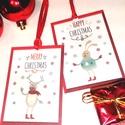 Karácsonyi Ajándékkísérő, Szarvas Adventi Kártya, Karácsonyi Ajándékkísérő, Ünnepi kártya, nyuszi, Naptár, képeslap, album, Karácsonyi, adventi apróságok, Ajándékkísérő, Ajándékkísérő, képeslap, Fotó, grafika, rajz, illusztráció, Mindenmás, 6 DB-os Ajándékkártya szett : 3 szarvasos + 3 nyuszis.  6 DB 8.4cm X  5.4cm méretű Igényes Egyedi K..., Meska
