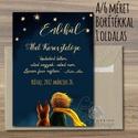 Keresztelő meghívó, Emléklap, Kisherceg, Csillag, Róka, Emlékül, szülinapi meghívó, képeslap, kék, babaváró lap, baba, Naptár, képeslap, album, Baba-mama-gyerek, Baba-mama kellék, Képeslap, levélpapír, A/6-os méretű Keresztelő meghívó  * Nyomtatás: 1 oldalas, művészpapír * Kivitelezés: 1lapos, hátolda..., Meska