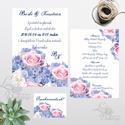 Esküvői meghívó, Hortenzia Virág, Nyári Virágos Esküvői lap, Rózsa, virágos meghívó, Lila Esküvő, kék, Esküvő, Naptár, képeslap, album, Meghívó, ültetőkártya, köszönőajándék, Képeslap, levélpapír, Lila Hortenzia Virágos Amerikai stílusú Egyedi Igényes Esküvői meghívó, gyönyörű passzoló borítékkal..., Meska