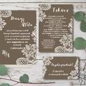 Csipkés Esküvői meghívó, Barna Csokoládé, elegáns meghívó, Vintage Esküvő, Csipke meghívó, képeslap, csoki barna, fehér, Esküvő, Naptár, képeslap, album, Meghívó, ültetőkártya, köszönőajándék, Képeslap, levélpapír, Elegáns Esküvői Meghívó szett  Hívd meg vendégeidet ezzel a gyönyörű Esküvői  meghívó szettel!  Megh..., Meska