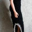Horgolt fekete Barbie ruha, Játék, Ruha, divat, cipő, Baba-mama-gyerek, Horgolás,  Anyaga - fekete akrilfonal, arany-ezüst színű fémfonal, Meska