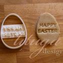 """Húsvéti sütemény kiszúró forma  - Tojás alakban """"Happy """"Easter!"""" felirat, Konyhafelszerelés, Karácsonyi, adventi apróságok, Fotó, grafika, rajz, illusztráció, Mindenmás, A közelgő Húsvétra készült tojásformájú sütemény kiszúró / szaggató, melynek közepébe a """"Happy East..., Meska"""