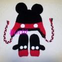 Micki sapka, sál kesztyű, Ruha, divat, cipő, Kendő, sál, sapka, kesztyű, Kesztyű, Sapka, Horgolás, Horgolt Micki szett 3 éves korig rendelhető. A boltomban található más fazonú Minnie, vagy Mickie t..., Meska