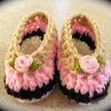 horgolt babacipő , Baba-mama-gyerek, Ruha, divat, cipő, Gyerekruha, Cipő, papucs, Horgolás, Horgolt cipőcske újszülött babáknak. 8 cm a talpmérete., Meska