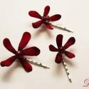 Bordó orchideás virághajdísz szett - 3db - Rendelhető!, Esküvő, Ruha, divat, cipő, Hajdísz, ruhadísz, Hajbavaló, Virágkötés, Ékszerkészítés, Csak akkor tudod megvásárolni, ha a belső üzenetben megrendelted nálam!   Az elegáns glitteres bord..., Meska