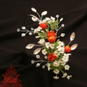 Fehér - narancs  menyasszonyi csokor hajdísszel, Esküvő, Esküvői csokor, Virágkötés, Csak akkor tudod megvásárolni, ha a belső üzenetben megrendelted nálam!  1db egyedi menyasszonyi cs..., Meska