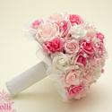 Pink-Rózsaszín gyöngyös  menyasszonyi csokor, Esküvő, Esküvői csokor, Virágkötés, Menyasszonyi csokor  Fehér, rózsaszín, világos pink habrózsából kötöm,  tekla gyöngyfüzérrel díszít..., Meska