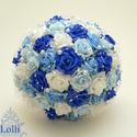 Kék-fehér gyöngyös  menyasszonyi csokor kitűzővel RENDELHETŐ!, Esküvő, Esküvői csokor, Virágkötés, Menyasszonyi csokor  Fehér, és kék árnyalatú habrózsákból kötöttem,  tekla gyöngyfüzérrel díszített..., Meska