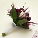 Tulipános menyasszonyi csokor, Esküvő, Esküvői csokor, Virágkötés, Egyedi menyasszonyi csokor fehér és padlizsán szín selyem tulipánból.  Amennyiben hasonlót szeretné..., Meska