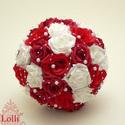 Vörös rózsás gyöngyös  menyasszonyicsokor szett - Rendelhető!, Esküvő, Esküvői csokor, A rengeteg követhetetlen megrendelés miatt kérem a következőket betartani:  Amennyiben ezt a csokrot..., Meska