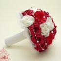 Vörös rózsás gyöngyös  menyasszonyicsokor kitűzővel - RENDELHETŐ!, Esküvő, Esküvői csokor, Virágkötés, Menyasszonyi csokor  Fehér, és piros hab, és selyem habrózsából kötöttem,  tekla gyöngyfüzérrel dís..., Meska