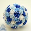 Kék-fehér gyöngyös  menyasszonyi csokor kitűzővel RENDELHETŐ!, Esküvő, Esküvői csokor, Fehér, és kék árnyalatú habrózsákból kötöttem ezt a menyasszonyi csokrot,  fehér tekla gyöngyfüzérre..., Meska