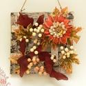 Őszi ajtódísz, Dekoráció, Otthon, lakberendezés, Ünnepi dekoráció, Dísz, Virágkötés, Termésvirággal, selyemlevelekkel, és műbogyókkal díszített nyirfalap - őszi ajtódísz.  Mérete: 22x2..., Meska