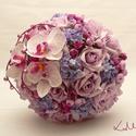 Lila-pink orchideás menyasszonyi csokor, Esküvő, Esküvői csokor, Amennyiben ezt a csokrot jóval idő előtt megrendeled, kérlek, hogy 1 hónapon belül vedd is át! Az es..., Meska